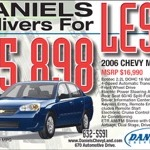 """Daniles Delivers for Less"" The Gazette, 5.75""x4"", 2006"